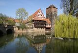 Historic barn on the River Pegnitz near Nuremberg